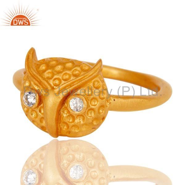 Suppliers Mind Blowing Handmade Owl Design White Zirconia Brass Ring With 18k Gold Plated