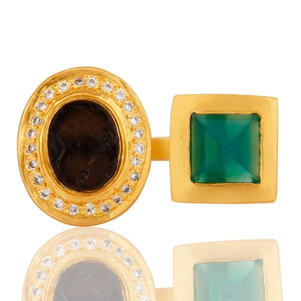 Suppliers Green Onyx, White Zircon & Smokey Rough with 18k Gold Plated Brass Ring