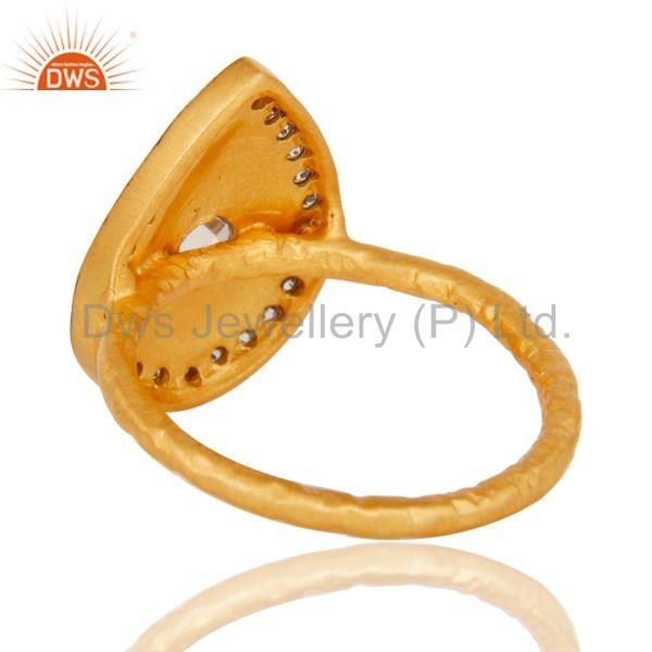 Suppliers 18k Gold Plated Handmade Design Brass Ring with White Zircon