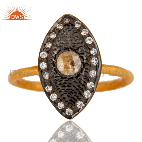 Suppliers Traditional 18k Gold Plated Handmade Design Brass Ring with White Zircon