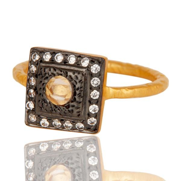Suppliers White Zircon With 18k Gold Plated Square Design Brass Ring