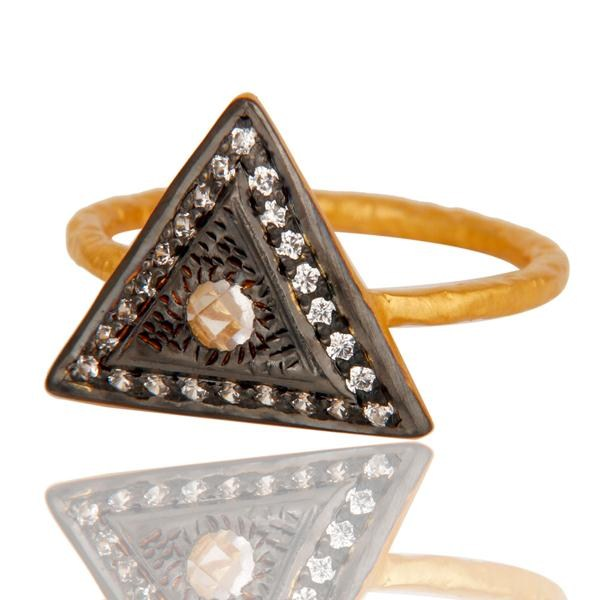 Suppliers 18k Gold Plated Designer Brass Ring With White Zircon