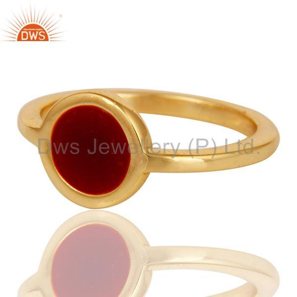 Suppliers 18k Yellow Gold Plated Traditional Handmade Red Enamel Brass Ring Jewellery