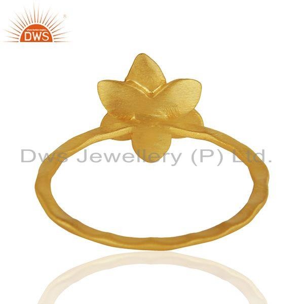 Suppliers Traditional Handmade Flower Brass Flower Design Ring with 18k Gold Plated