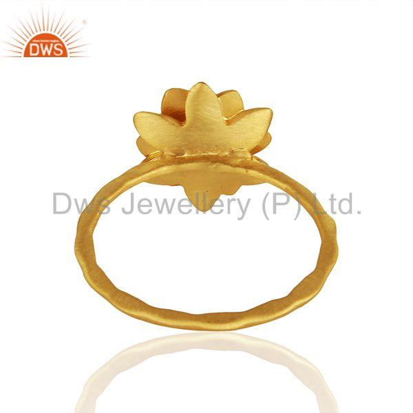 Suppliers Traditional Handmade Flower Brass Flower Design Ring with 18k Gold Plated & CZ