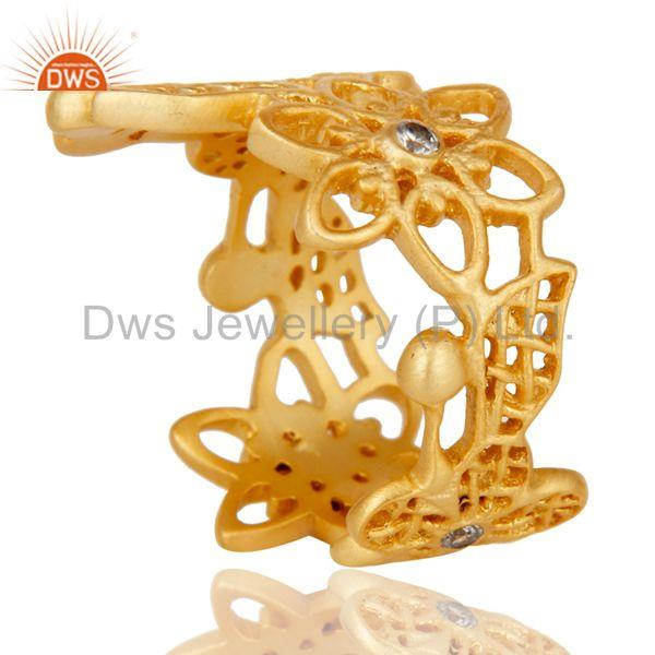 Suppliers Traditional Handmade 18K Gold Plated White Zirconia Filigree Jewellery Ring