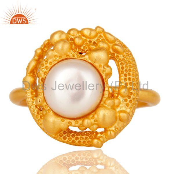 Suppliers 18k Gold Plated Traditional Handmade Brass Ring with Pearl