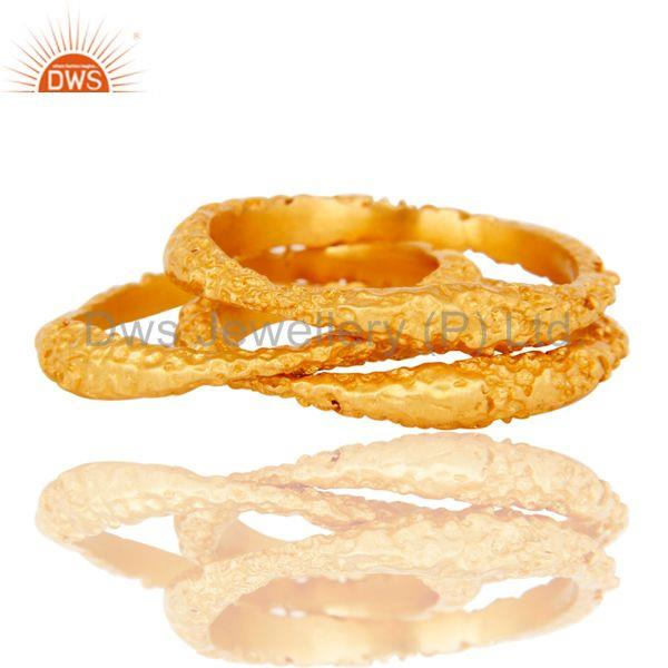 Suppliers 18k Gold Plated Handmade Simple Three Set Brass Ring