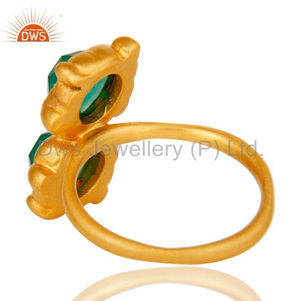 Suppliers 18k Gold Plated Green Onyx Chekered Stone Design Brass Ring