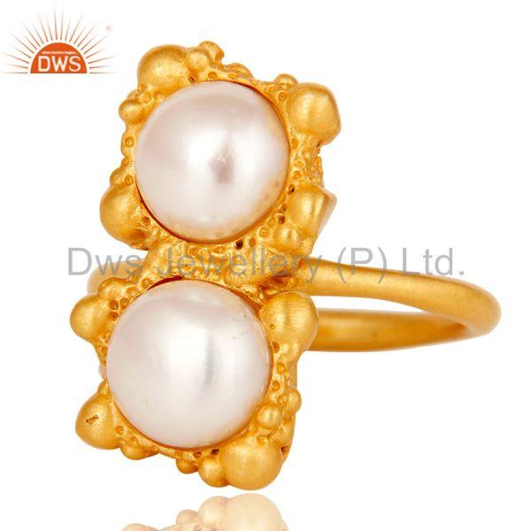 Suppliers 18k Gold Plated Natural Pearl Stone Design Brass Ring