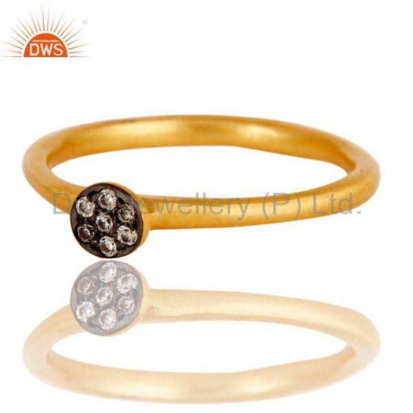 Suppliers Fine Little Handmade Brass Ring with 18k Gold Plated & Cubic Zarconia