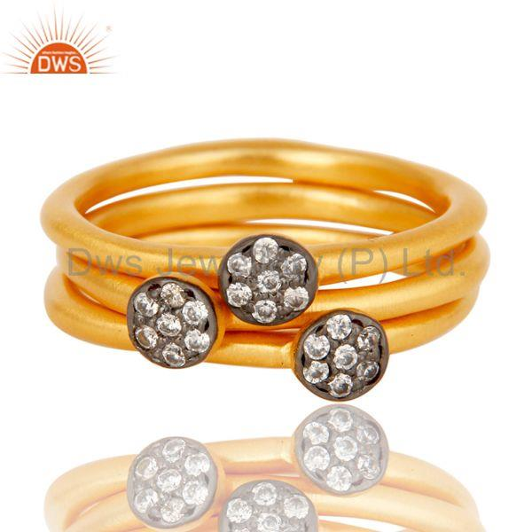 Suppliers Fine Little Handmade 3 Set Brass Ring with 18k Gold Plated & Cubic Zarconia