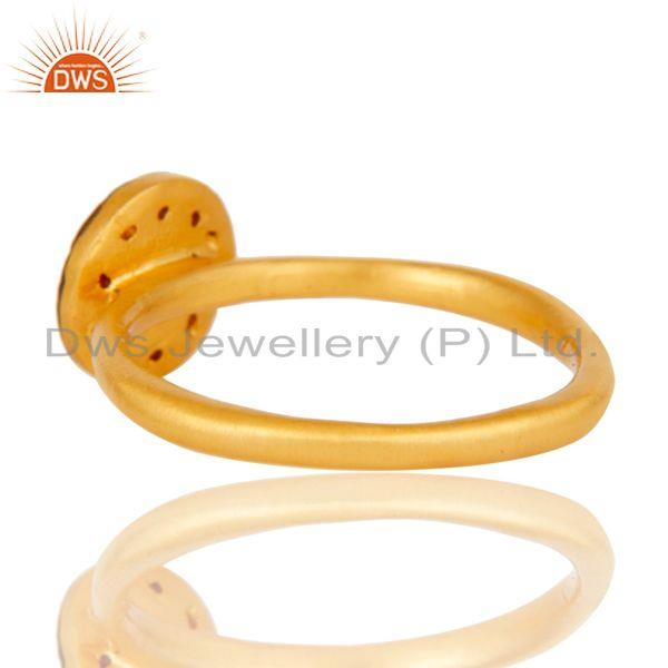 Suppliers 18k Gold Plated Traditional Handmade Engagament Brass Ring with White Zircon
