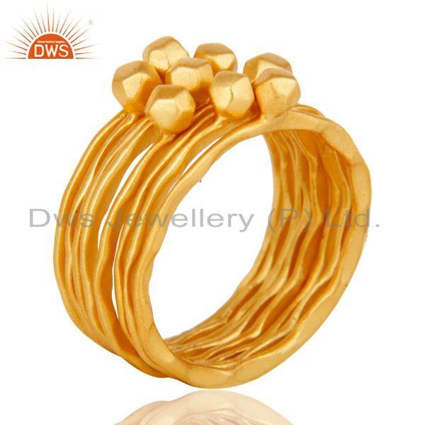 Suppliers Traditional Handmade 18K Yellow Gold Plated 8 Set Of Brass Stackable Ring