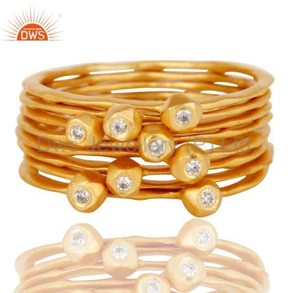Suppliers 18K Yellow Gold Plated Handmade White Zirconia 8 Set Of Brass Stackable Ring