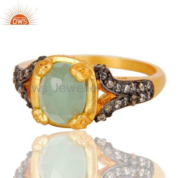 Suppliers 18k Gold Plated Handmade Stackable Brass Ring with Aqua & Cubic Zarconia