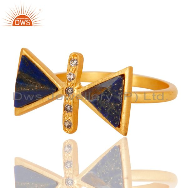 Suppliers 18k Gold Plated Fancy Brass Ring with Lapis & Cubic Zarconia