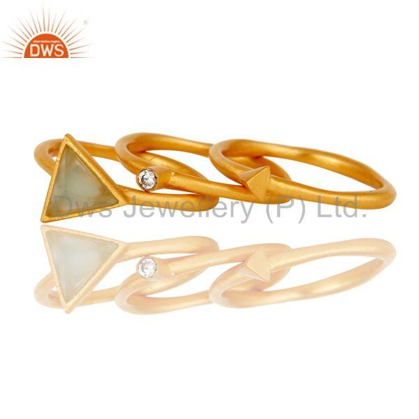 Suppliers 18K Yellow Gold Plated 3 Set Of Brass Ring Dyed Chalcedony & White Zirconia