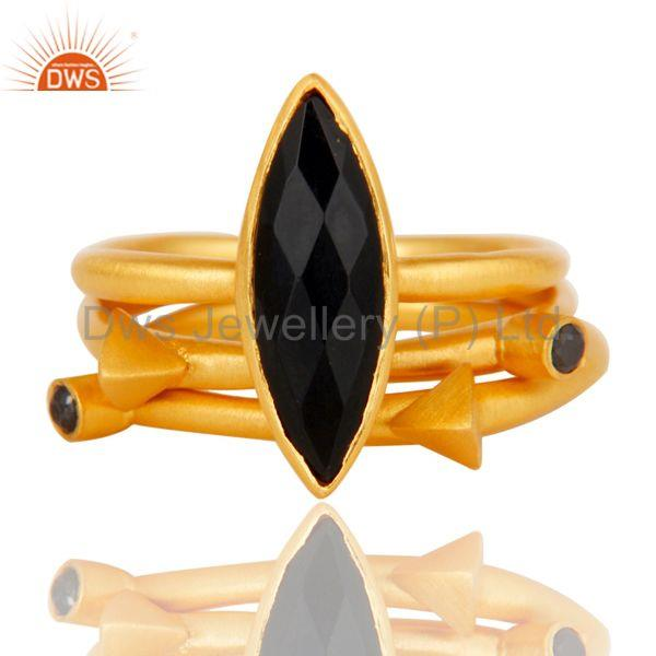 Suppliers 18k Gold Plated Three Set Brass Ring with Black Onyx & White Zircon