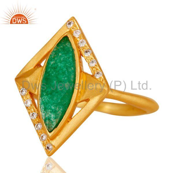 Suppliers 18k Gold Plated Handmade Brass Ring with Green Aventurine & CZ