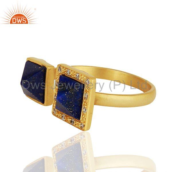 Suppliers White Zircon and Lapis Lazuli Gemstone Gold Plated Brass Fashion Rings