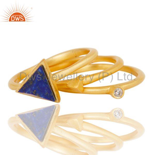 Suppliers 18K Gold Plated Lapis Lazuli & White Zirconia 3 Set Of Brass Stackable Ring
