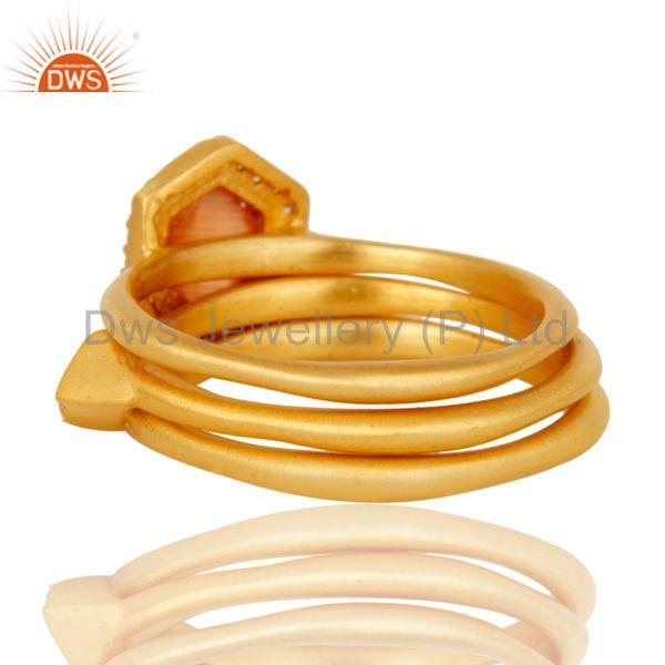Suppliers Peach Moonstone & White Zirconia 18K Gold Plated 3 Set Of Brass Stackable Ring