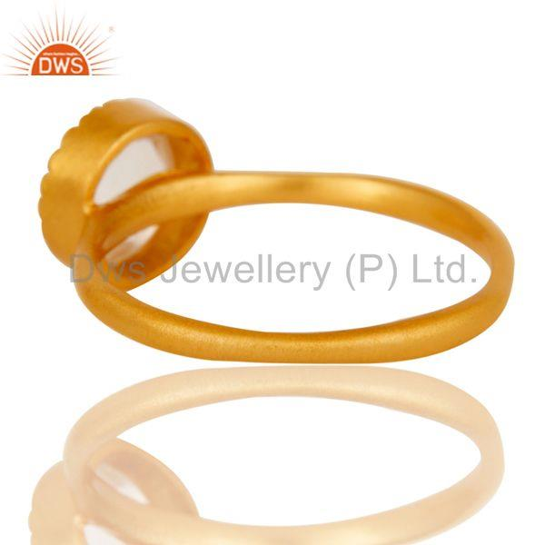 Suppliers 18k Gold Plated Little Anniversary Brass Ring with Crystal Quartz