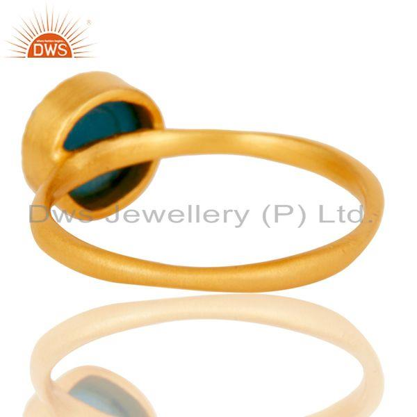 Suppliers 18k Gold Plated Little Anniversary Brass Ring with Turquoise