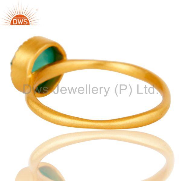 Suppliers 18k Gold Plated Little Anniversary Brass Ring with Green Onyx