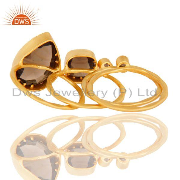 Suppliers 18L Gold Plated Handmade Smokey Topaz Rose Cut 4 Set Of Stackable Brass Ring