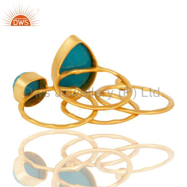 Suppliers Turquoise Gemstone Gold Plated Brass Fashion Set of 4 Ring Jewelry