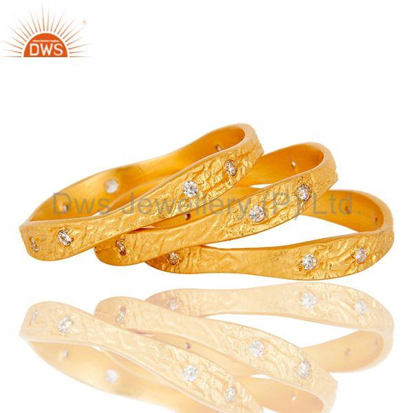 Suppliers 18k Yellow Gold Plated Fashion Charming 3 Set of Brass Band Ring