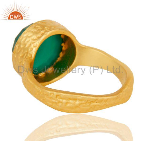 Suppliers 22k Yellow Gold Plated Handmade Faceted Green Onyx Statement Brass Ring