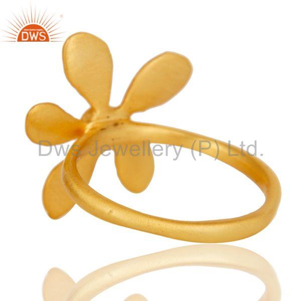 Suppliers 18k Yellow Gold Plated Handmade Flower Design Green Onyx Brass Stackable Ring