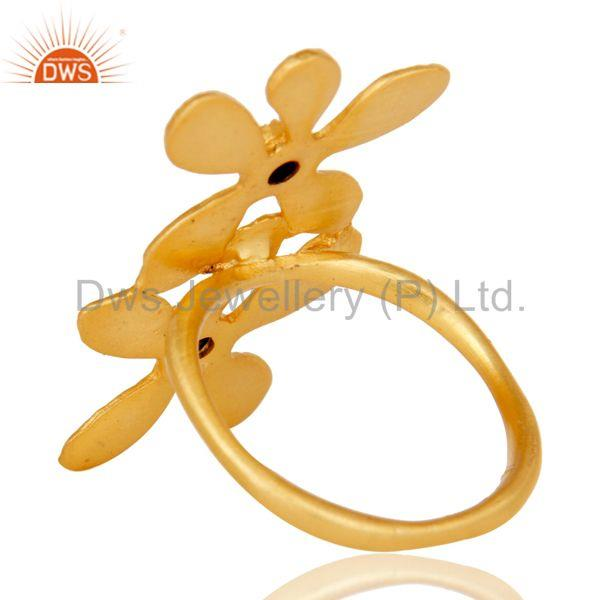 Suppliers 18k Yellow Gold Plated Handmade Double Flower Design Black Onyx Brass Ring
