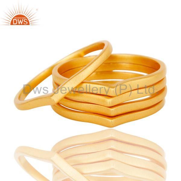 Suppliers Chevron Stackable Five Ring Designer Gold Plated Fashion Jewelry