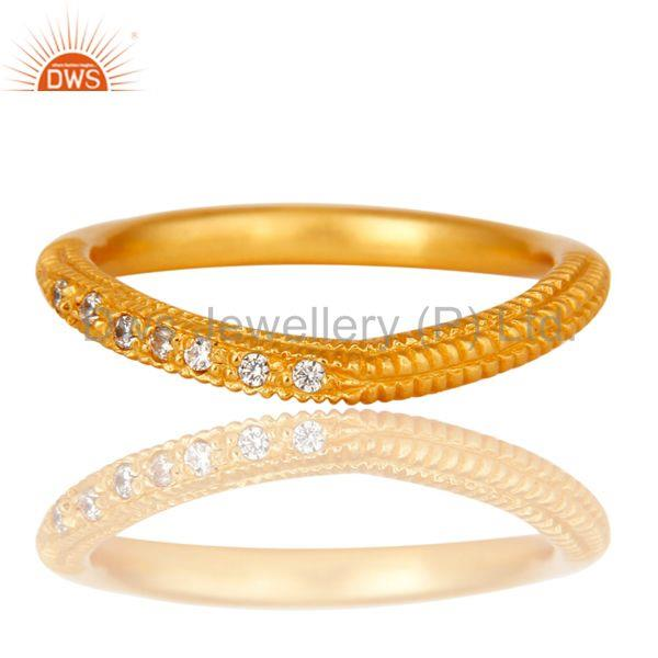 Suppliers Traditional Handmade Engagement Brass Ring with 18k Gold Plated & CZ