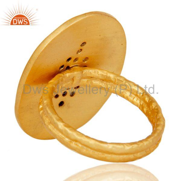 Suppliers Handmade Painting White Zirconia Brass Cocktail Ring With 18k Yellow Gold Plated