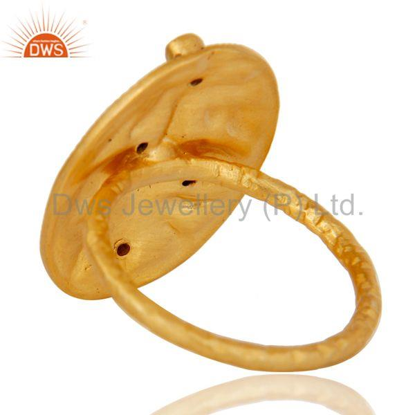 Suppliers 18K Yellow Gold Plated Handmade Rough Design White Zirconia Over Brass Ring