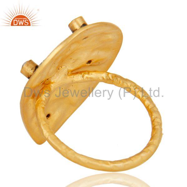 Suppliers 18K Gold Plated Handmade Rough Design White Zirconia Over Brass Dome Ring