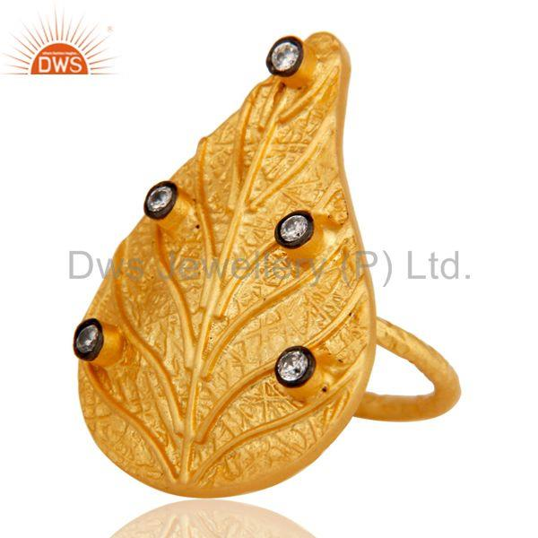 Suppliers Traditional 22K Yellow Gold Plated Leaf Design White Zirconia Brass Ring