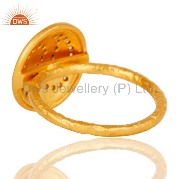 Suppliers Handmade White Zircon Brass Stacking Ring with 18k Gold Plated