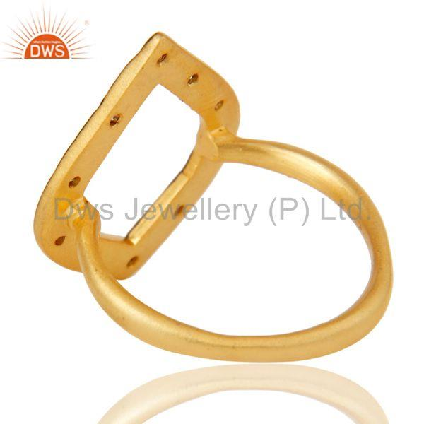 Suppliers Traditional Handmade Art Deco Brass Ring With 18K Gold Plated & White Zirconia