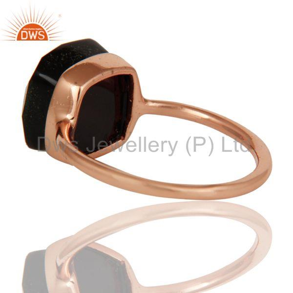 Suppliers Black Onyx Studded Rose Gold Plated Statement Designer Fashion Ring