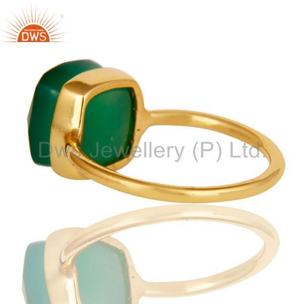 Suppliers Green Onyx Studded Rose Gold Plated Statement Designer Fashion Ring