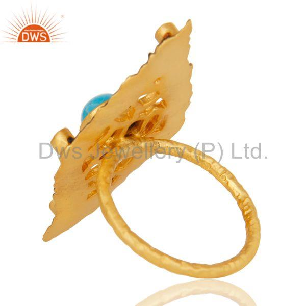 Suppliers Turquoise And Cz Studded Designer Filigreen Ring