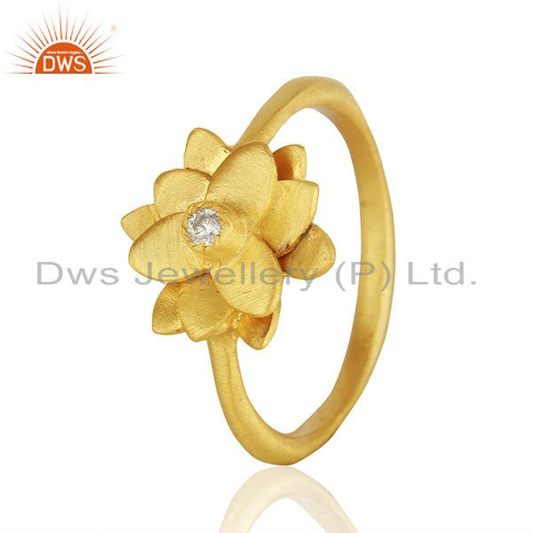 Suppliers Floral Design 14k Gold Plated White Zircon Ring Jewelry Manufacturers