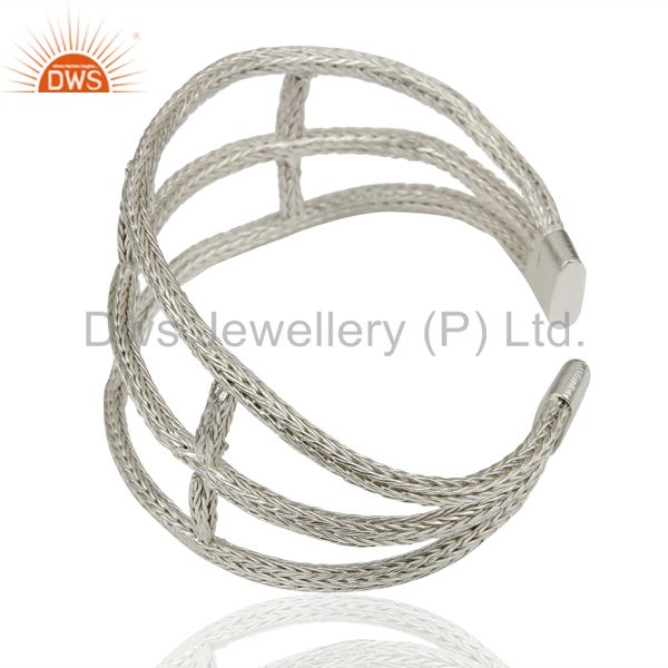 Suppliers 925 Sterling Silver Woven Chain Wide Cuff Bracelet Bangle Jewelry