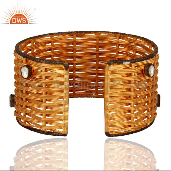 Suppliers 18-Karat Yellow Gold Plated Over Brass Wire Weave Cuff With Crystal Polki